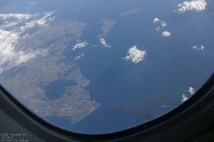 Rückflug - erster Blick auf Europa (Dänemark)