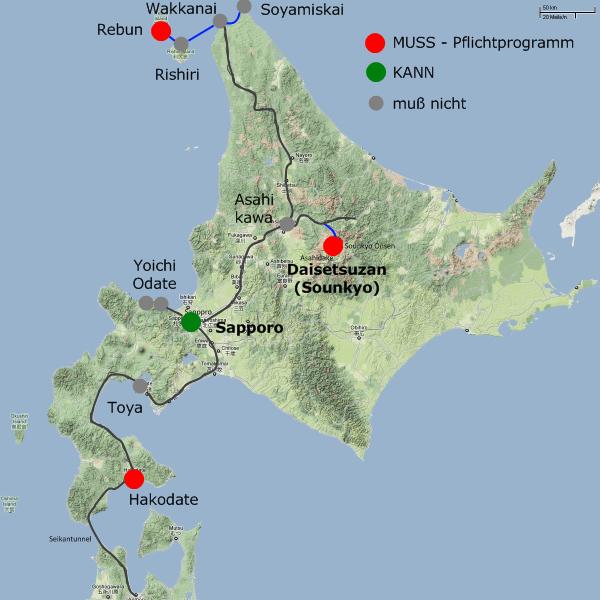 Karte Hokkaido mit meiner 2010er Reiseroute