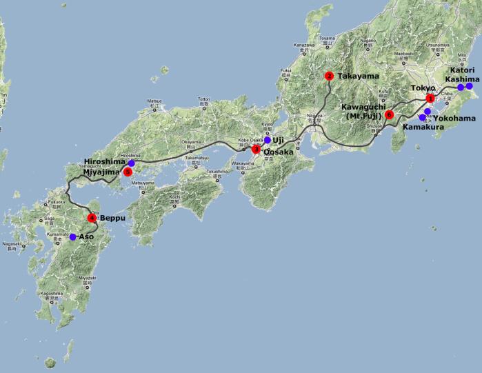 Karte mit Hotels und Tagesausflüge