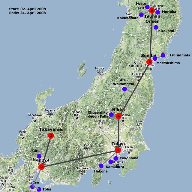 Karte mit Hotels und Tagesausflügen