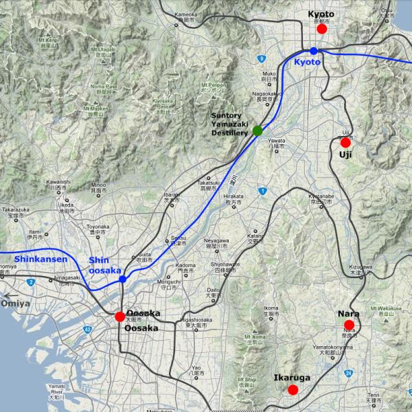 Region zwischen Osaka und Kyoto